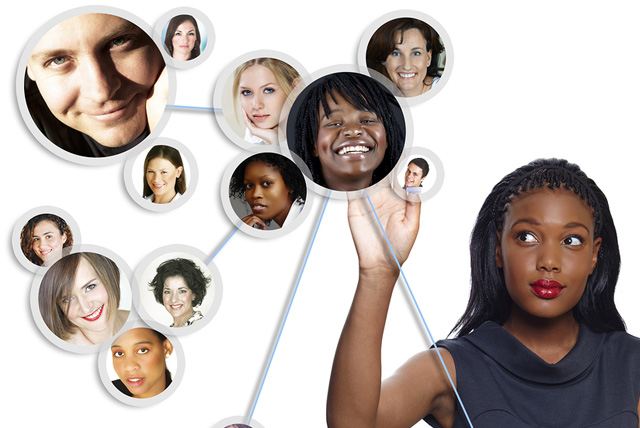 Illustration of a young African American female college student sorting her social network of friends and professional contacts.