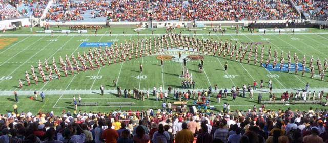 The Bethune-Cookman Wildcats Marching Band take the field to perform at the opening of the 2012 Florida Classic prior to kickoff.