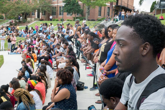 The Class of 2017 has packed the Library Bowl amphitheater on the campus of North Carolina Central University (7th Largest HBCU).