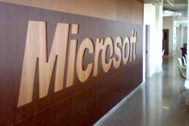 Microsoft Internship: A view of the Microsoft signage in the hallway of the U.S. Microsoft offices.