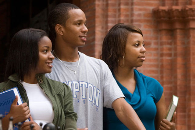Psychology Degree Programs: Students from the School of Education and Human Development pose on the campus of Hampton University.