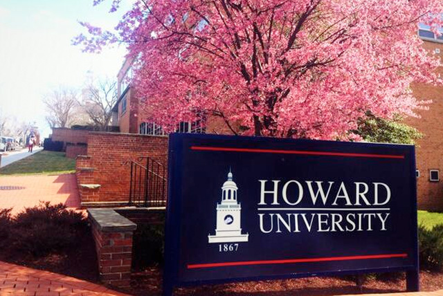 Howard University School: Campus signage displaying Howard University name and founding date.