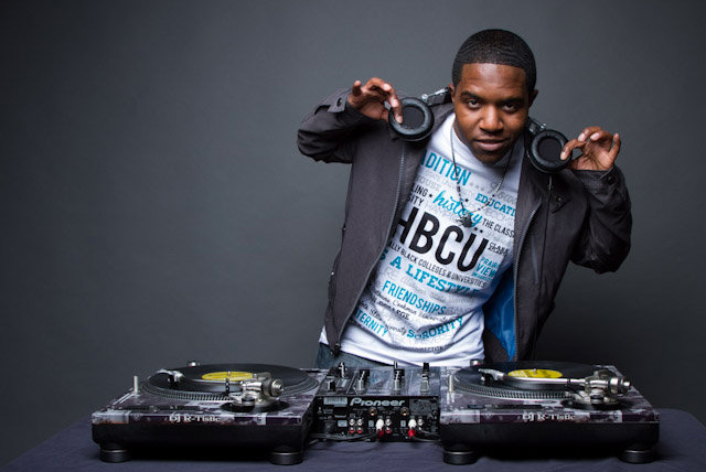 McDonald's Flavor-Battle 2014 winner DJ R-Tistic poses in front of his turntables.