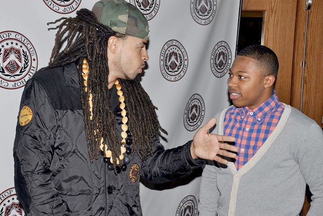 Hip-Hop artist Dee-1 speaking with Sophomore, Jordan Wright about the hip hop community taking action on the Climate and how he can be involved at the Hip Hop Caucus tour at Central State University.