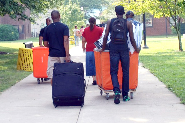 Bowie State University freshman students move into campus housing on Freshman Move-In Day.