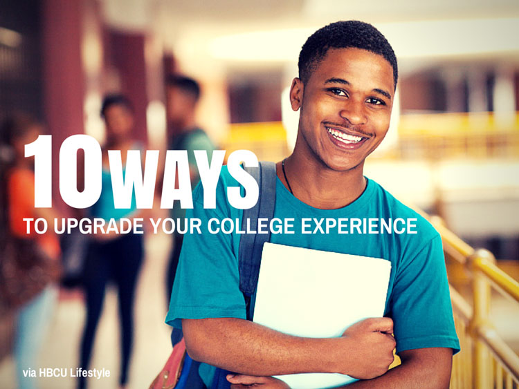 Black male HBCU student holding college books on campus.