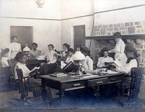 Cheyney University Emlen Hall reading room, early 1900s.