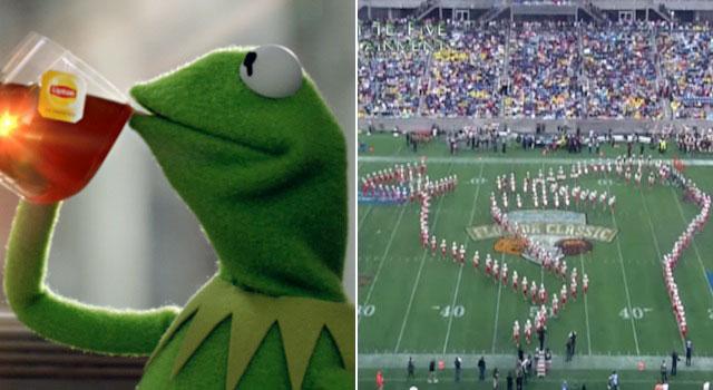 Florida A&M's marching 100 band form into the shape of Kermit the Frog drinking tea at the 2014 Florida Classic.