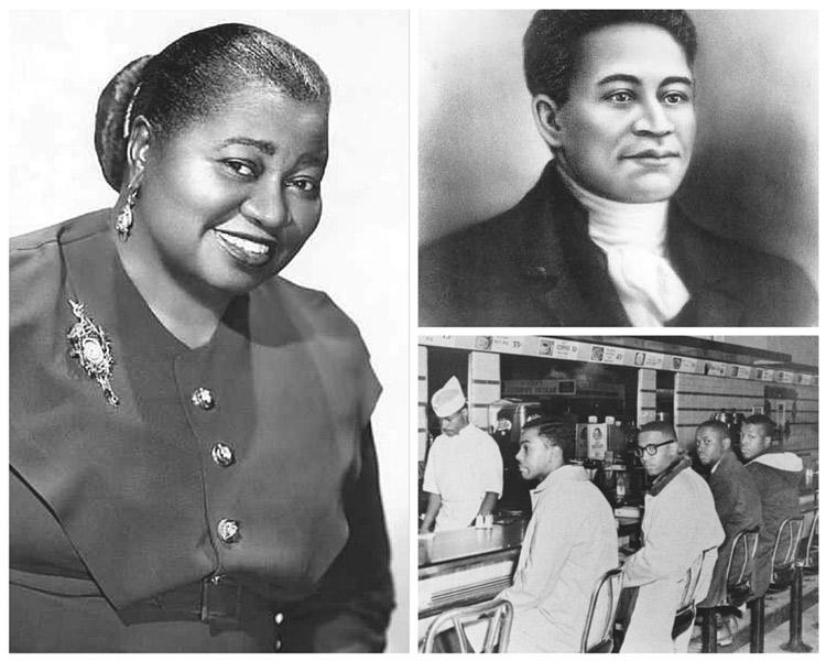 Black history icons Hattie McDaniel (left), Crispus Attucks (top right), and The A&T Four (bottom right).