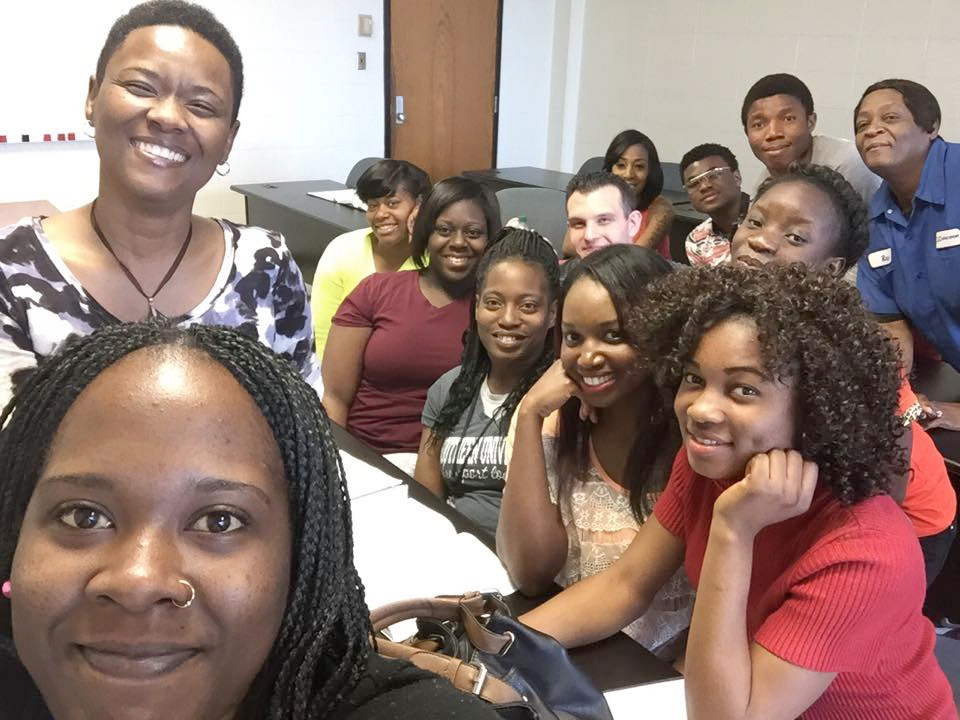 All smiles in Professor Sonya Hester's class at Southern University at Shreveport, Louisiana.