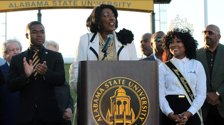 Alabama State President Gwendolyn E. Boyd joins Harvey to make the major announcement about the Turkey Day Classic Partnership.