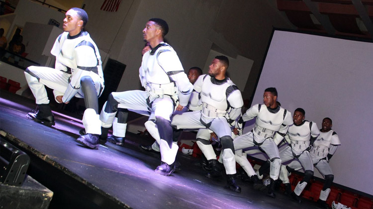 The brothers of AlThe brothers of Alpha Phi Alpha at Tuskegee University dressed as storm troopers perform a Star Wars themed Homecoming step show in 2015.