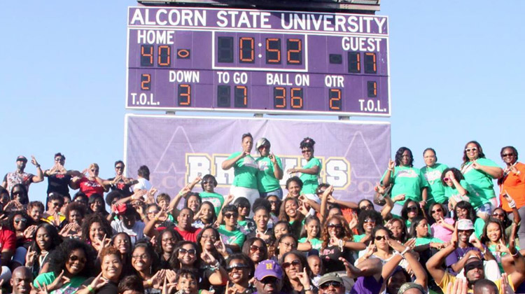 Members of the Divine Nine Black Greek Organizations pose together under Alcorn State's Spinks-Casem Stadium scoreboard.