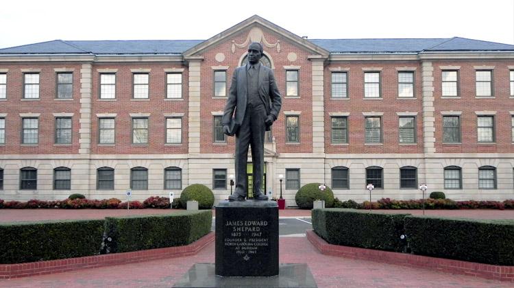Statue of NCCU founder James E. Shepard. James E. Shepard was also a pharmacist, civil servant and educator.