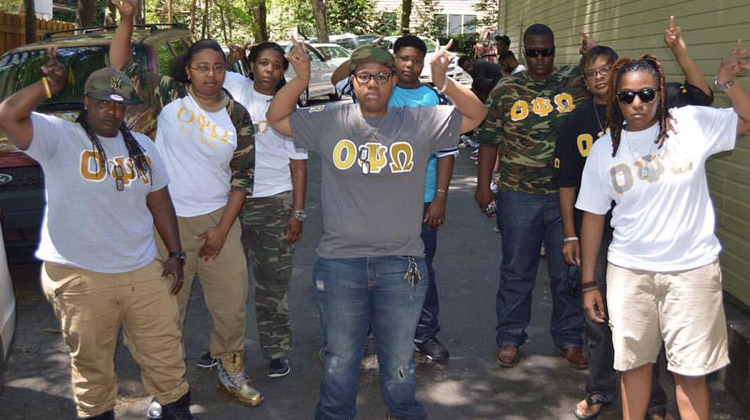 Black Greek Life: Members of Omicron Psi Omega, Inc. pose together.