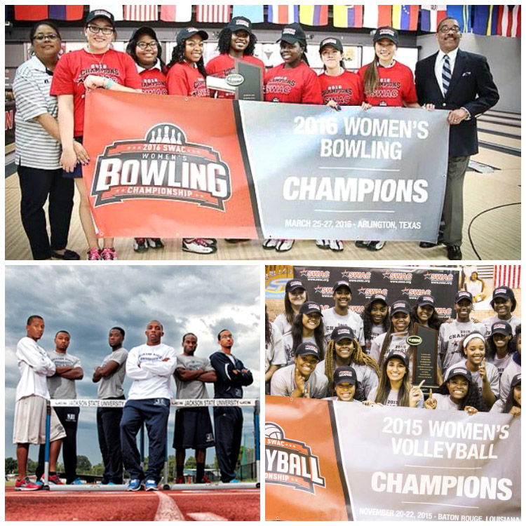 N4A Certification: Collage of three successful Jackson State University Athletics programs - Women's Bowling, Men's Track and Women's Volleyball.