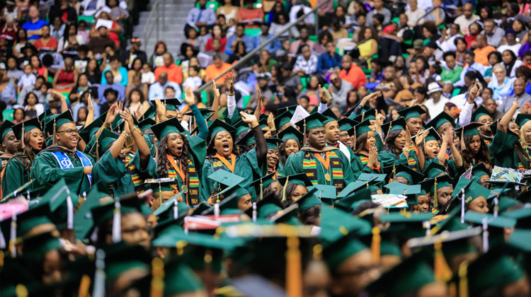 Student Engagement: Florida A&M University class of 2015 rejoice during the Graduation Commencement.