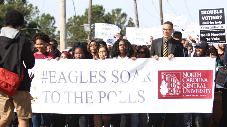 Proteting Public HBCUs: NCCU students marched to the polls to vote early for the 2016 U.S. presidential election.