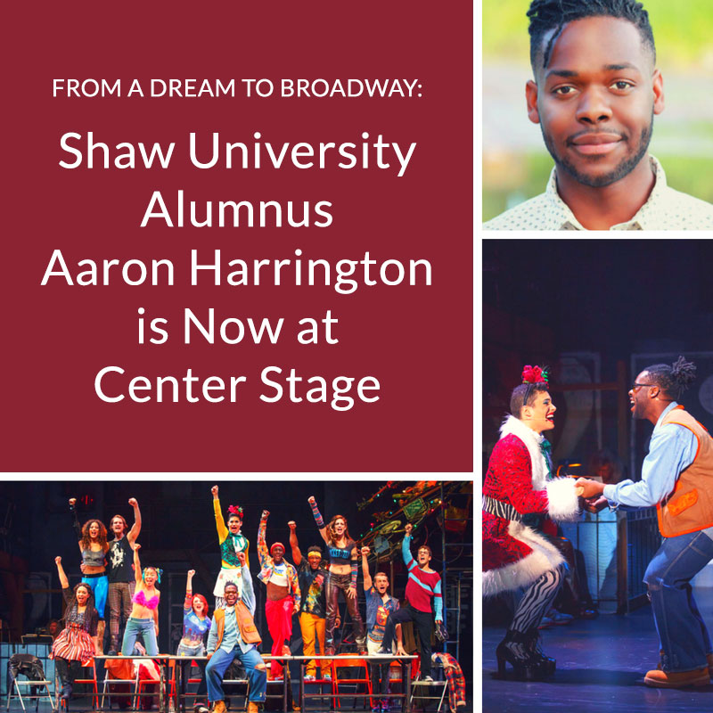 Images of Shaw Grad Aaron Harrington performing on stage with the cast of RENT 20th Anniversary Tour.
