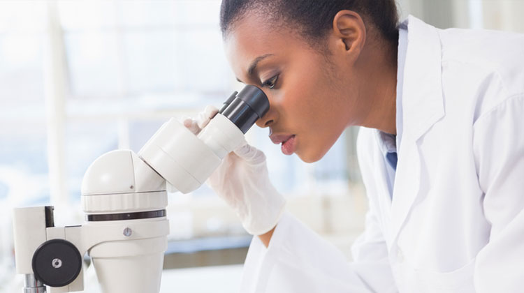 A Black female STEM major looks into a microscope while working in a lab on campus.