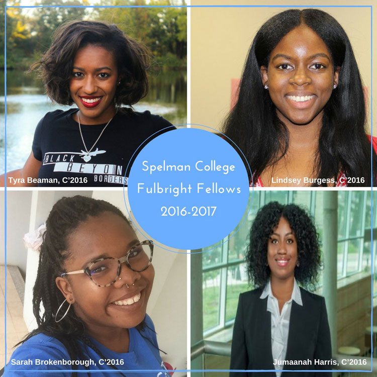 Spelman College students who will participate in the Fulbright English Teaching Assistant Program, are: Lindsey Burgess, C'2016, history major, (Morocco); Jumaanah Harris, C'2016, English major (Malaysia); Sarah Brokenborough, C'2016, comparative women's studies major (Laos); and Tyra Beaman, C'2016, international studies major, (Dominican Republic).