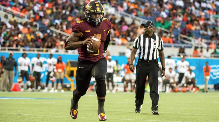 Bethune-Cookman's running back Larry Brihm, Jr. rushes for a fourth-quarter touchdown during the Florida Classic game in Orlando, FL.