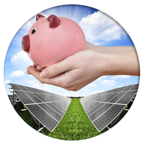 piggy bank held over solar panels array in circle