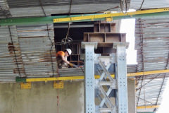 September 2019 -  A welder repairs structural components of the U.S. 1 viaduct over Wayne Avenue.