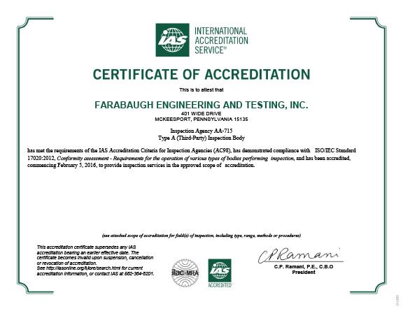 AA-715 -- Farabaugh Engineering and Testing Inc.(McKeesport, PA)