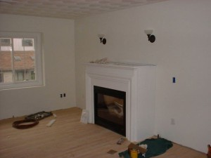 Fireplace enclosure mantle, gas fireplace