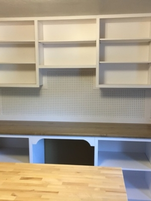 Shelves custom built for a craft making room