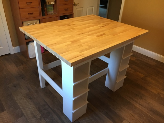 Table custom built to use as a craft making workbench