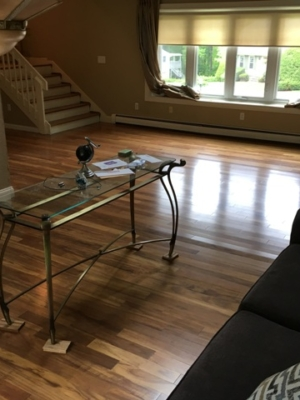 Installed hardwood flooring