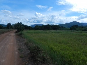 Civilized flatlands and potent mountains to the west of Sukhothai, Thailand