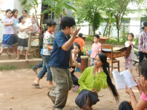 Children learning traditional dance in Luang Prabang, Laos.