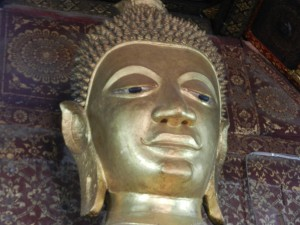 The principal Buddha statue in Wat Xieng Thong, Luang Prabang.