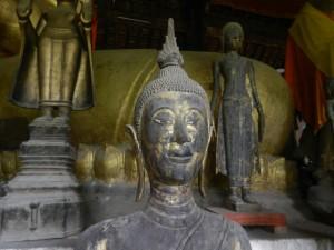 A Laotian style Buddha in Luang Prabang's Wat Visoun.