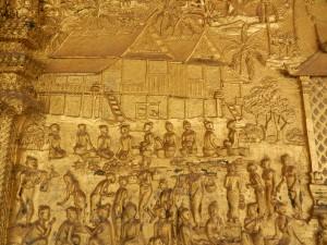 The countryside shown on Wat Mai, Luang Prabang, laos.