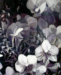 """Black & White Orchid"" 24"" x 36"" Oil on Prepared Paper"