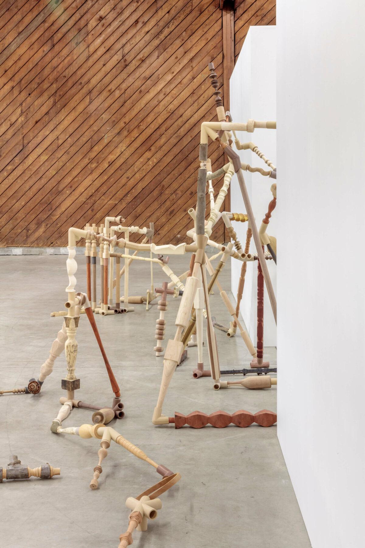 wood, joints, installation, rhizome, flow, 3d prints
