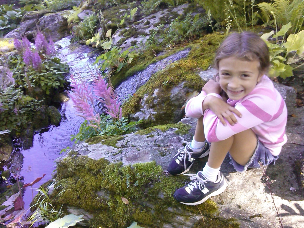 Graziella-enjoying-the-stream-garden