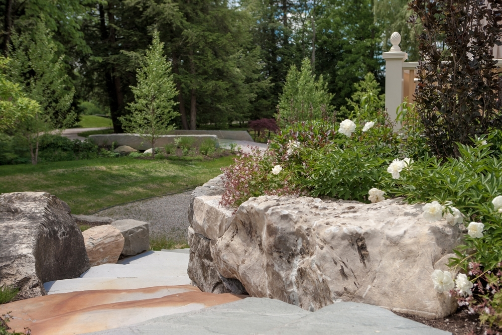 Limestone-steps-and-retaining-boulders