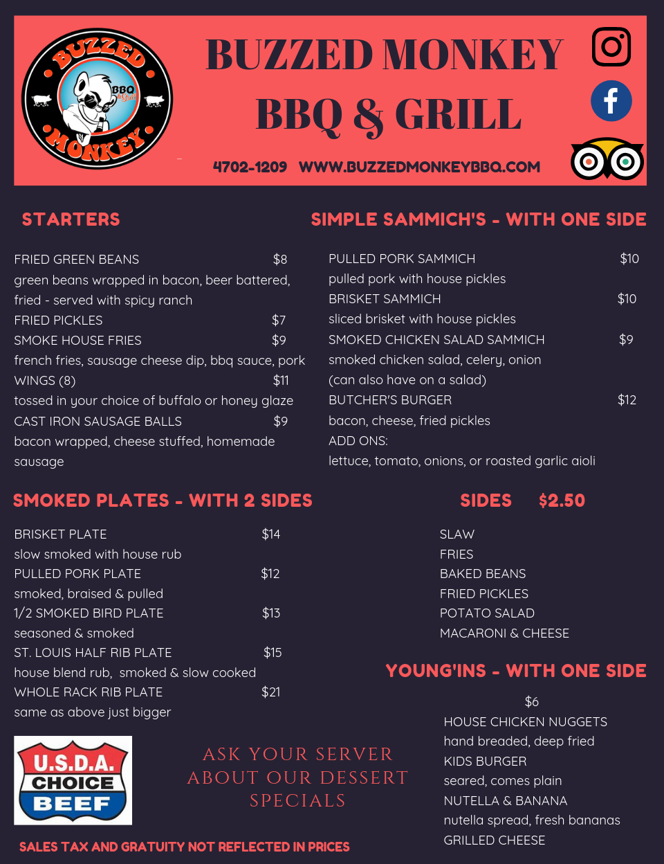Black Red Neon Diner Menu