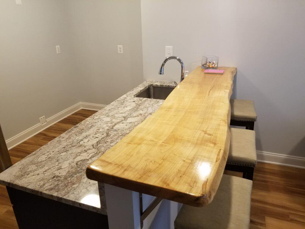 Maple live edge slab counter