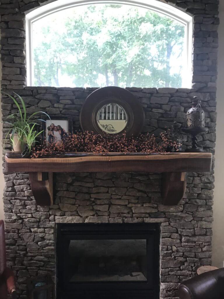custom walnut reclaimed mantle