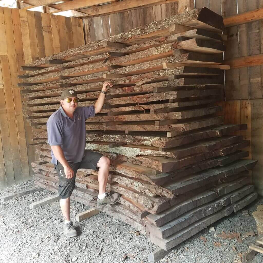 Oak live edge slabs for table tops