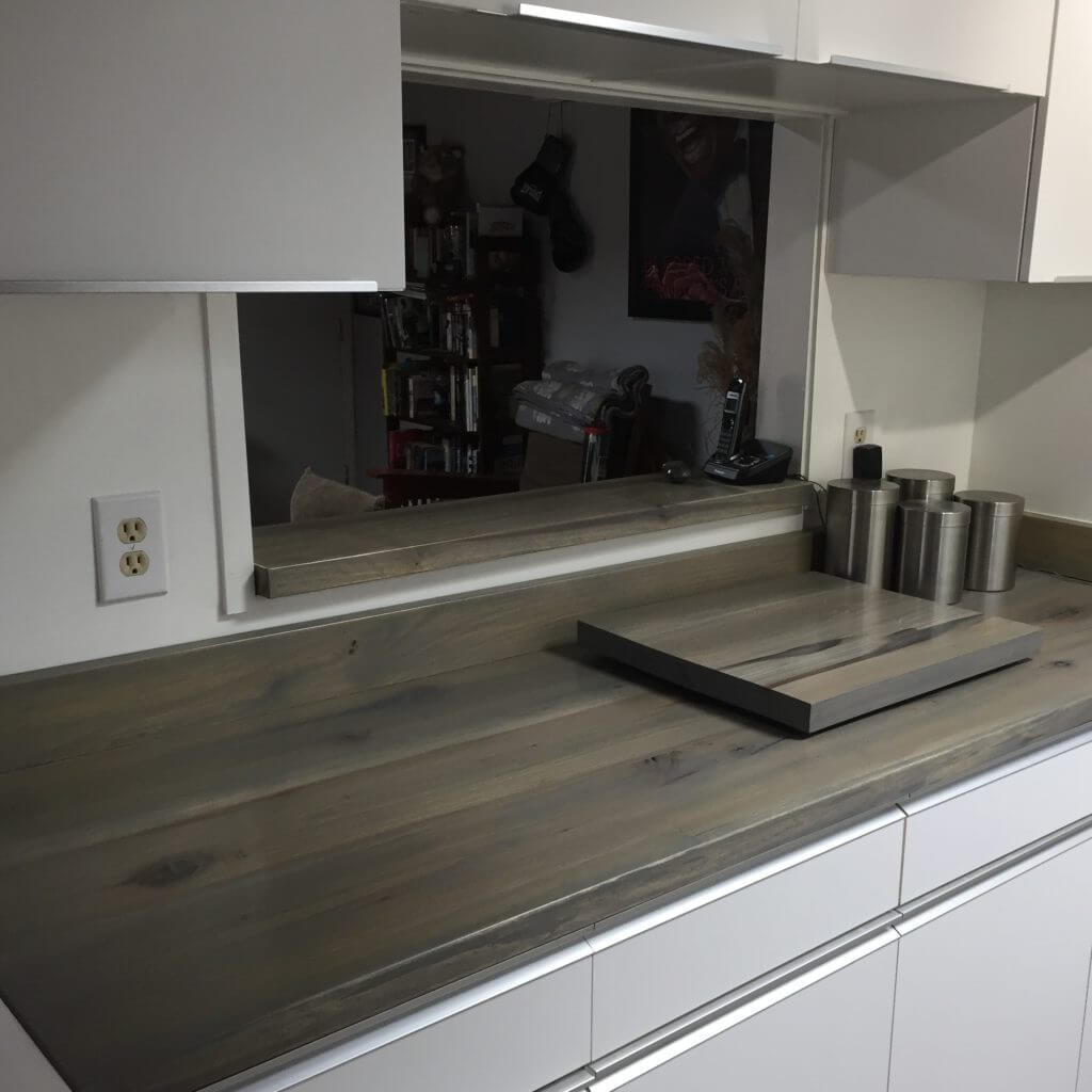 wood counter tops with a rustic stain