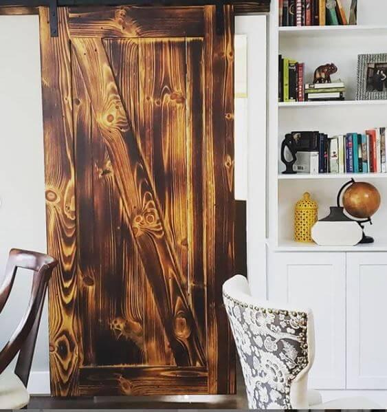 pine burnt wood barn sliding door