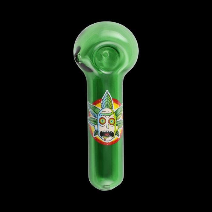 Green Rick And Morty Glass Pipe