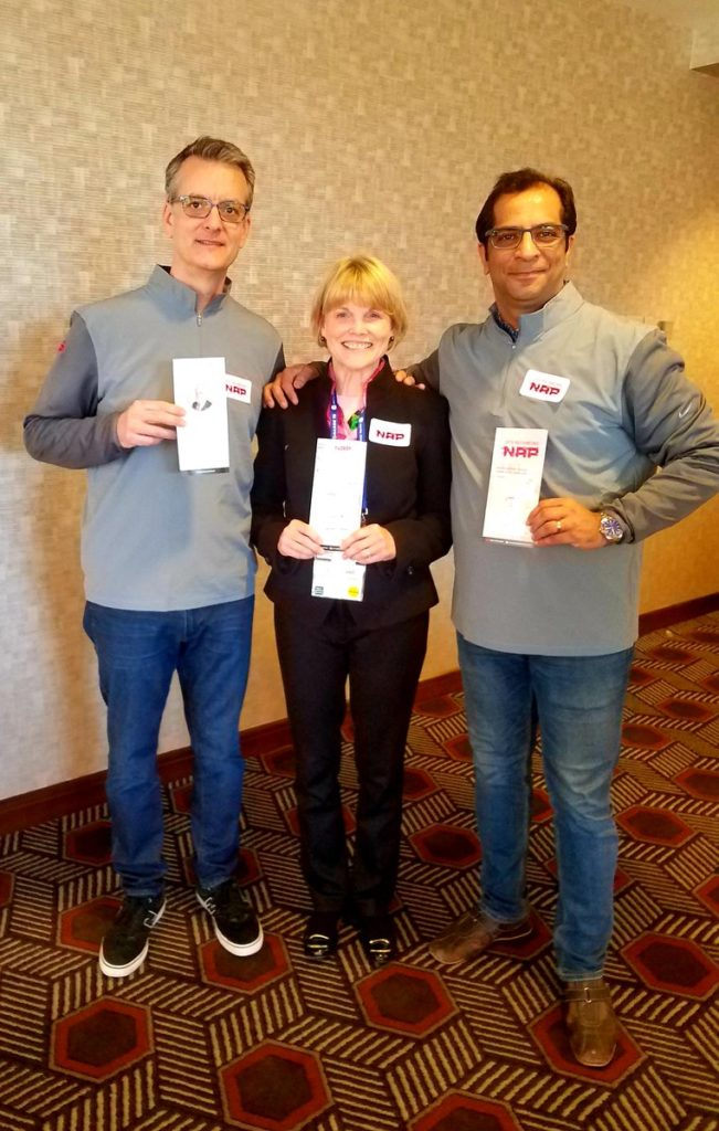 Clint, Twyla and Vinay, Newcomer Lunch, NANOG 75